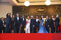 Le Jury, Pedro ALMODÓVAR, Jessica CHASTAIN, FAN Bingbing, Maren ADE, Agnès JAOUI, PARK Chan-Wook, Will SMITH, Paolo SORRENTINO, Gabriel YARED, la derniere montée pour la Palme d'Or, soixante-dixième (70ème) Festival du Film à Cannes, Palais des Festivals et des Congres, Cannes, Sud de la France, dimanche 28 mai 2017.
