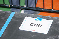 A sign on the media riser indicates a spot for CNN's television camera before a campaign rally for Democratic presidential candidate and Vermont senator Bernie Sanders at Hampshire Hills Athletic Club in Milford, New Hampshire, on Tue., Feb. 4, 2020. The  event started around 7pm and was the first event Sanders held after the previous day's Iowa Caucuses. The results of the caucuses were unknown until the Democratic party released partial numbers at 5pm, showing Sanders and former South Bend, Ind., mayor Pete Buttigieg both as frontrunners.
