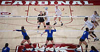 STANFORD, CA - December 1, 2017: Jenna Gray, Morgan Hentz, Kathryn Plummer at Maples Pavilion. The Stanford Cardinal defeated the CSU Bakersfield Roadrunners 3-0 in the first round of the NCAA tournament.