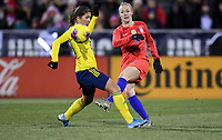 COLUMBUS, OH - NOVEMBER 07: Becky Sauerbrunn #4 of the United States passes off the ball during a game between Sweden and USWNT at MAPFRE Stadium on November 07, 2019 in Columbus, Ohio.