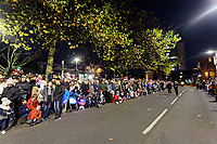 """Pictured: Locals gather at Castle Square Gardens to watch the Christmas parade in Swansea, Wales, UK. Sunday 19 November 2018<br /> Re: Swansea Christmas parade attended by thousands has been branded a """"shambles"""" for having just three floats.<br /> The annual festive event in south Wales, which took place on Sunday, promised """"dynamic dance-troupes"""" as well as """"spectacular shows and stages"""".<br /> But the parade was scaled down, leading to a barrage of criticism on social media because of roadworks in the city centre. <br /> The leader of Swansea Council, Rob Stewart apologised on Facebook and said the parade was not """"good enough"""".<br /> Parents took on social media to voice their anger, calling the event """"a load of rubbish"""" and claiming there was nothing for young children apart from """"a loud music float with Santa on""""."""