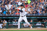 Jose Iglesias (1) of the Detroit Tigers at bat against the Chicago White Sox at Comerica Park on June 2, 2017 in Detroit, Michigan.  The Tigers defeated the White Sox 15-5.  (Brian Westerholt/Four Seam Images)