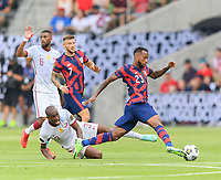 AUSTIN, TX - JULY 29: Kellyn Acosta #23 of the United States brings the ball up the field during a game between Qatar and USMNT at Q2 Stadium on July 29, 2021 in Austin, Texas.
