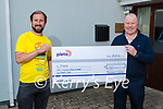 Patrick Sullivan of Patchinos Coffee in Killorglin who raised €1,561 for Pieta House and presented the cheque to Con O'Connor of Pieta Hosue on Monday. L to r: Patrick Sullivan and Con O'Connor.