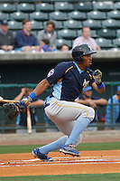 Myrtle Beach Pelicans outfielder Rashad Crawford (20) at bat during a game against the Charleston RiverDogs at Joseph P.Riley Jr. Ballpark on April 6, 2016 in Charleston, South Carolina. Myrtle Beach defeated Charleston  4-1. (Robert Gurganus/Four Seam Images)