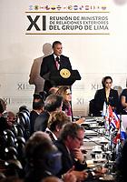 BOGOTÁ – COLOMBIA, 24-02-2019: Iván Duque, Presidente  de Colombia, durante la 11ª reunión de Ministros de Relaciones Exteriores del Grupo de Lima en Bogotá, Colombia. El grupo de 14 miembros de Lima, que incluye a la mayoría de los paises latinoamericanos. Es la primera reunión en la que Venezuela participará como miembro del grupo de Lima, representado por el presidente interino Juan Guaido. / Iván Duque, President of Colombia during the 11th Lima Group Foreign Ministers meeting in Bogota, Colombia. The 14-member Lima Group, which includes most Latin American. It is first meeting in which Venezuela will participate as a member of the Lima group, represented by the Acting President Juan Guaido. Photo: VizzorImage / Luis Ramírez / Staff.