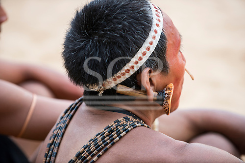 A Matis contestant waits for his turn during the International Indigenous Games, in the city of Palmas, Tocantins State, Brazil. Photo © Sue Cunningham, pictures@scphotographic.com 25th October 2015