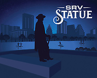 Stevie Ray Vaughan Memorial Statue silhouette in blue. Stevie Ray Vaughan Memorial is a bronze sculpture of SRV on the outer banks of Lake Bird Lake