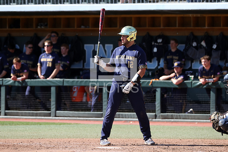 CHAPEL HILL, NC - MARCH 08: Niko Kavadas #12 of the University of Notre Dame waits for a pitch during a game between Notre Dame and North Carolina at Boshamer Stadium on March 08, 2020 in Chapel Hill, North Carolina.