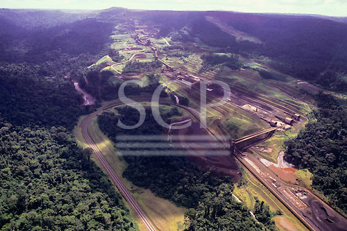 Carajas, Brazil. Railway terminal and processing plant at the Carajas iron ore mine; Para State.