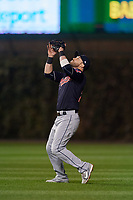 Cleveland Indians second baseman Jason Kipnis (22) catches a popup in the second inning during Game 3 of the Major League Baseball World Series against the Chicago Cubs on October 28, 2016 at Wrigley Field in Chicago, Illinois.  (Mike Janes/Four Seam Images)
