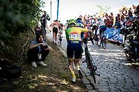 Inga Cesulienė (LIT/Aromitalia - Basso Bikes - Vaiano) running up the Moskesstraat<br /> <br /> Women Elite - Road Race (WC)<br /> from Antwerp to Leuven (158km)<br /> <br /> UCI Road World Championships - Flanders Belgium 2021<br /> <br /> ©kramon