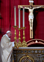 Pope Francis During the Easter Mass  in St. Peter's Square, at the Vatican.  1 April 2018