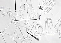 A collection of hand-drawn designs for clothing