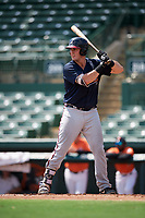 Atlanta Braves first baseman Austin Bush (59) at bat during an Instructional League game against the Baltimore Orioles on September 25, 2017 at Ed Smith Stadium in Sarasota, Florida.  (Mike Janes/Four Seam Images)
