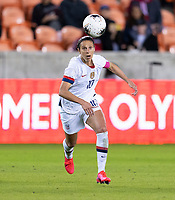 HOUSTON, TX - JANUARY 28: Carli Lloyd #10 of the United States looks to the ball during a game between Haiti and USWNT at BBVA Stadium on January 28, 2020 in Houston, Texas.