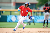 Buffalo Bisons Richard Urena (16) running the bases during an International League game against the Indianapolis Indians on June 20, 2019 at Sahlen Field in Buffalo, New York.  Buffalo defeated Indianapolis 11-8  (Mike Janes/Four Seam Images)