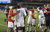 The USA's  (left to right) Maurice Edu, Jozy Altidore, Steve Cherundolo, Jonathan Bornstein, DaMarcus Beasley, Tim Howard, Stuart Holdencelebrate defeating Algeria 1-0 to win Group C and advancing to the second round of the 2010 FIFA World Cup.  USA played Algeria in a 2010 FIFA World Cup first round match at Loftus Versfeld Stadium in Tshwane/Pretoria, South Africa on Wednesday, June 23, 2010.