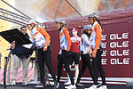 Rabo Liv Women Cycling Team at sign on before start the 2015 Strade Bianche Women Elite cycle race 103km over the white gravel roads from San Gimignano to Siena, Tuscany, Italy. 8th March 2015<br /> Photo: Eoin Clarke www.newsfile.ie
