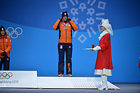OLYMPIC GAMES: PYEONGCHANG: 13-02-2018, Medals Plaza, Victories Ceremony, Podium 1500m Ladies Long Track Speed Skating, Marrit Leenstra (NED), ©photo Martin de Jong