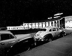Moon Township PA:  View of the main entrance and 1949 Dodge Taxi cabs waiting for a fare on opening night at the new Greater Pittsburgh Airport. <br />