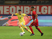 Nurbergen Nurbol (6) of Kazakhstan and Killian Sardella (18) of Belgium  in action during a soccer game between the national teams Under21 Youth teams of Belgium and Kazakhstan on the third matday in group I for the qualification for the Under 21 EURO 2023 , on friday 8 th of october 2021  in Leuven , Belgium . PHOTO SPORTPIX | SEVIL OKTEM