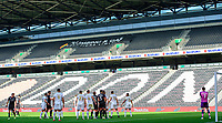 Lincoln City and Milton Keynes Dons players prepare for a corner inside an empty Stadium MK due to Covid-19 restrictions<br /> <br /> Photographer Chris Vaughan/CameraSport<br /> <br /> The EFL Sky Bet League One - Milton Keynes Dons v Lincoln City - Saturday 19th September 2020 - Stadium MK - Milton Keynes<br /> <br /> World Copyright © 2020 CameraSport. All rights reserved. 43 Linden Ave. Countesthorpe. Leicester. England. LE8 5PG - Tel: +44 (0) 116 277 4147 - admin@camerasport.com - www.camerasport.com