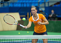 Moskou, Russia, Februari 3, 2016, Fed Cup Russia-Netherlands,  Practise Dutch team,  Cindy Burger<br /> Photo: Tennisimages/Henk Koster