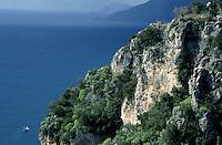 Rocky cliffs on the Tyrrhenian Sea, Praino Village, Amalfi Coast, Italy.