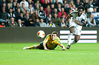 Thursday 24 October 2013  <br /> Pictured:  Wilfried Bony tries to sneak the ball past <br /> Re:UEFA Europa League, Swansea City FC vs Kuban Krasnodar,  at the Liberty Staduim Swansea