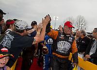 Mar. 17, 2013; Gainesville, FL, USA; NHRA funny car driver Johnny Gray celebrates after winning the Gatornationals at Auto-Plus Raceway at Gainesville. Mandatory Credit: Mark J. Rebilas-
