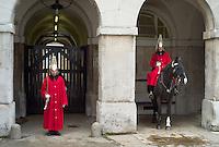 Horse guards outside Horse Guards Parade, London, England
