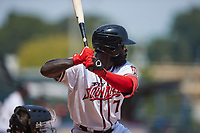 Jacob Heyward (7) of the Richmond Flying Squirrels at bat against the Bowie Baysox at The Diamond on July 28, 2021, in Richmond Virginia. (Brian Westerholt/Four Seam Images)