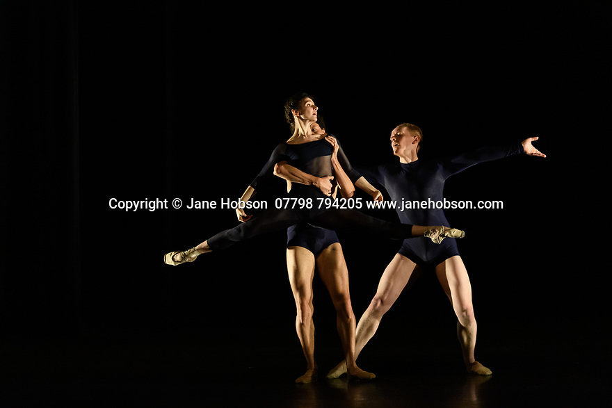 """Alina Cojocaru, lead principal dancer with Sadler's Wells Associate Company, English National Ballet, and resident guest artist with Hamburg Ballet, curates and performs in a new programme of classical and contemporary works, at Sadler's Wells. The piece shown is """"Journey"""", choreographed by Juliano Nunes. the dancers are: Alina Cojocaru, Juliano Nunes (bare-chested), Dominic Harrison"""
