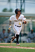 GCL Pirates second baseman Francisco Acuna (58) runs to first base during a game against the GCL Tigers West on August 13, 2018 at Pirate City Complex in Bradenton, Florida.  GCL Tigers West defeated GCL Pirates 5-1.  (Mike Janes/Four Seam Images)