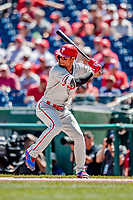 23 August 2018: Philadelphia Phillies outfielder Nick Williams in action against the Washington Nationals at Nationals Park in Washington, DC. The Phillies shut out the Nationals 2-0 to take the 3rd game of their 3-game mid-week divisional series. Mandatory Credit: Ed Wolfstein Photo *** RAW (NEF) Image File Available ***