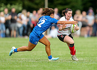 24 August 2019; Maeve Liston is tackled by Sene Naoupu  during the Women's Interprovincial Championship match between Ulster and Leinster at Armagh RFC in Armagh. Photo by John Dickson / DICKSONDIGITAL