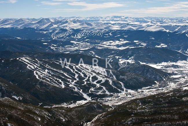 Keystone, foreground, and Breckenridge, background ski areas. March 2014