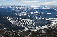 Keystone, foreground, and Breckenridge, background ski areas. March 2014