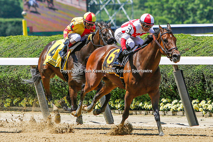 June 5, 2021: Search Results, #6, ridden by Javier Castellano, wins the Acorn Stakes on Belmont Stakes Day at the Belmont Stakes Festival at Belmont Park in Elmont, New York. Sue Kawczynski/Eclipse Sportswire/CSM