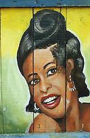 TANZANIA, painted advertisement signboard of african woman at hairdresser salon / TANSANIA, gemaltes Reklameschild einer afrikanischen Frau an einem Friseur Salon in Dar es Salaam