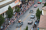 Classic cars cruise in downtown Reno, Nev., on Wednesday night, Aug. 7, 2013, during the official Kick-Off Cruise of Hot August Nights. (AP Photo/Cathleen Allison)
