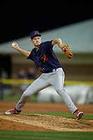 State College Spikes pitcher Logan Gragg (55) during a NY-Penn League game against the Batavia Muckdogs on July 3, 2019 at Dwyer Stadium in Batavia, New York.  State College defeated Batavia 6-4.  (Mike Janes/Four Seam Images)