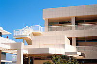"Richard Meier: The Getty Center. Detail--the north wall of North Pavilion--Corbusian ""ocean liner"" railings.  Photo '99."