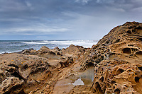 The pockmarked landscape at Bean Hollow State Beach with tafoni formations in the forground and Pacific waves in the background, all under an overcast sky.