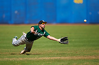 Farmingdale Rams left fielder Ryan Osborne (17) makes a diving attempt during a game against the Union Dutchmen on February 21, 2016 at Chain of Lakes Stadium in Winter Haven, Florida.  Farmingdale defeated Union 17-5.  (Mike Janes/Four Seam Images)