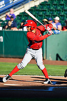 Leonardo Rivas (3) of the Orem Owlz bats against the Ogden Raptors in Pioneer League action at Lindquist Field on June 22, 2017 in Ogden, Utah. The Owlz defeated the Raptors 13-8.  (Stephen Smith/Four Seam Images)