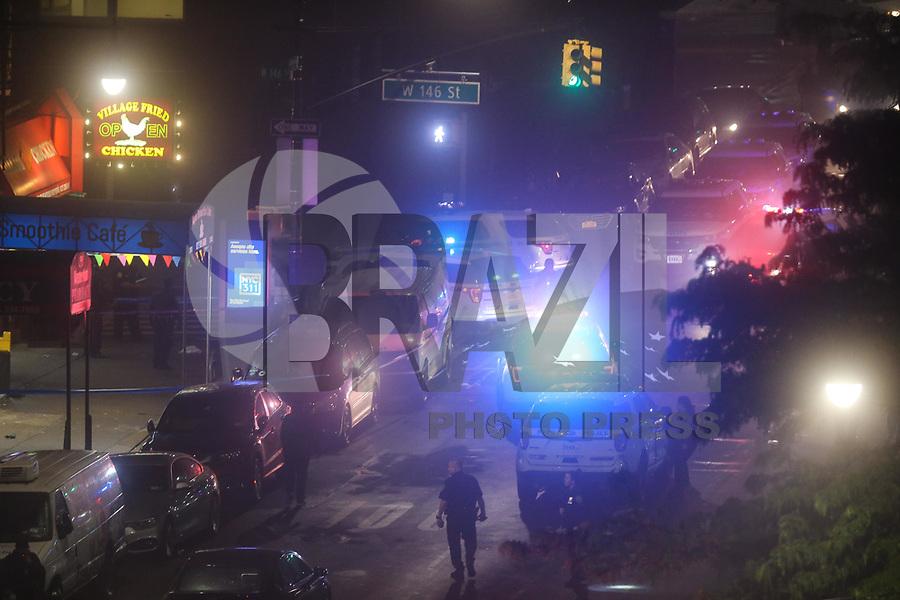 NOVA YORK, EUA, 20.05.2018 - CRIME-EUA - Movimento de policiamento no local onde um homem teria tomado dois tiros na cabeça após uma briga em uma lanchonete no bairro Harlem na ilha de Manhattan na cidade de Nova York nos Estados Unidos na madrugada deste domingo, 20. (Foto: William Volcov/Brazil Photo Press)