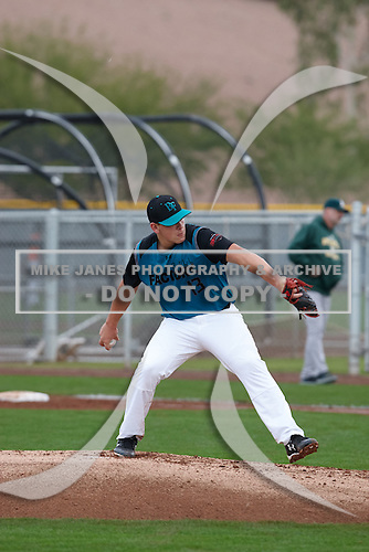 Gustaf Radel (13) of Roosevelt High School in Sioux Falls, South Dakota during the Under Armour All-American Pre-Season Tournament presented by Baseball Factory on January 15, 2017 at Sloan Park in Mesa, Arizona.  (Kevin C. Cox/Mike Janes Photography)