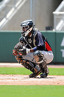 GCL Twins catcher Brian Navarreto (31) during a game against the GCL Red Sox on July 19, 2013 at JetBlue Park at Fenway South in Fort Myers, Florida.  GCL Red Sox defeated the GCL Twins 4-2.  (Mike Janes/Four Seam Images)